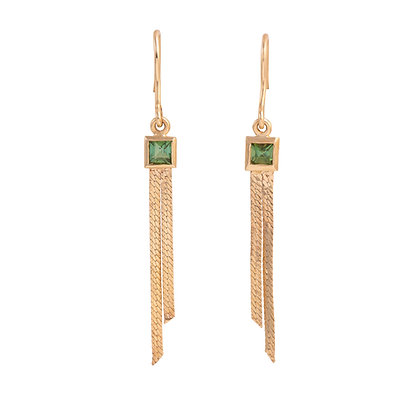 Green Tourmaline Gold Dangle Earrings