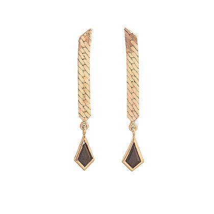 Black Spinel Gold Dangle Earrings