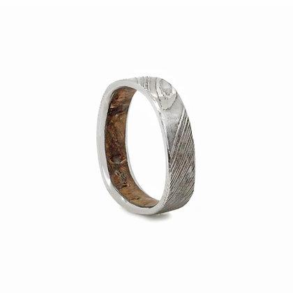 Damascus Stainless Steel & Wild Rose Burlwood Ring