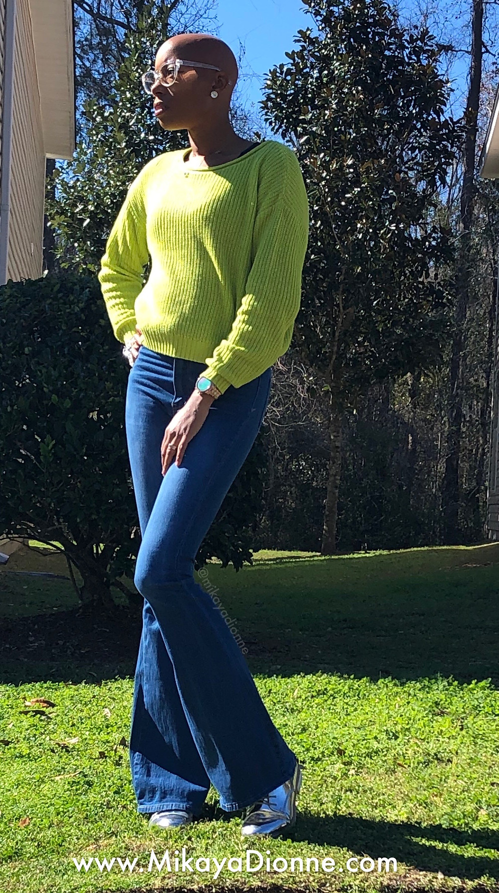 Neon green sweater- Wild Fable at Target; Blue Flared Bottom Jeans- Sole Queen; Metallic Oxford shoes- ShoeDazzle