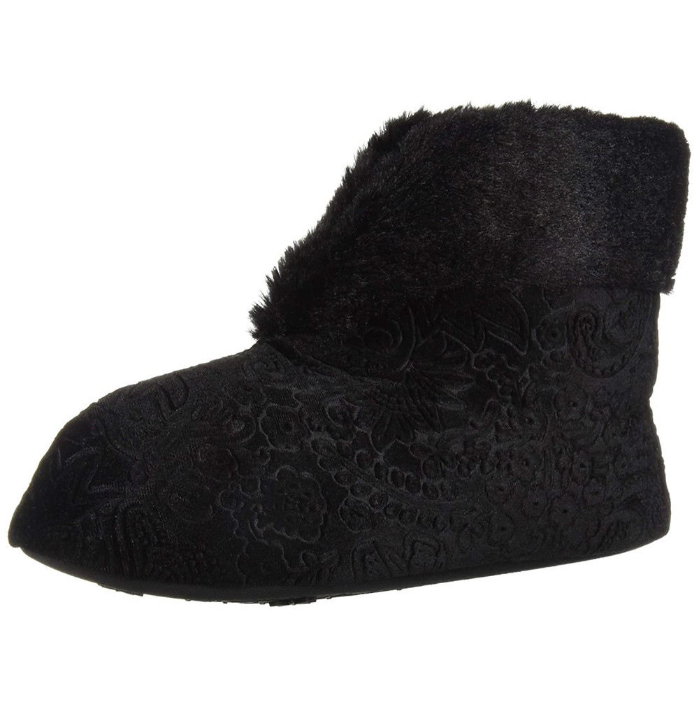 Embossed slipper booties with rubber grips