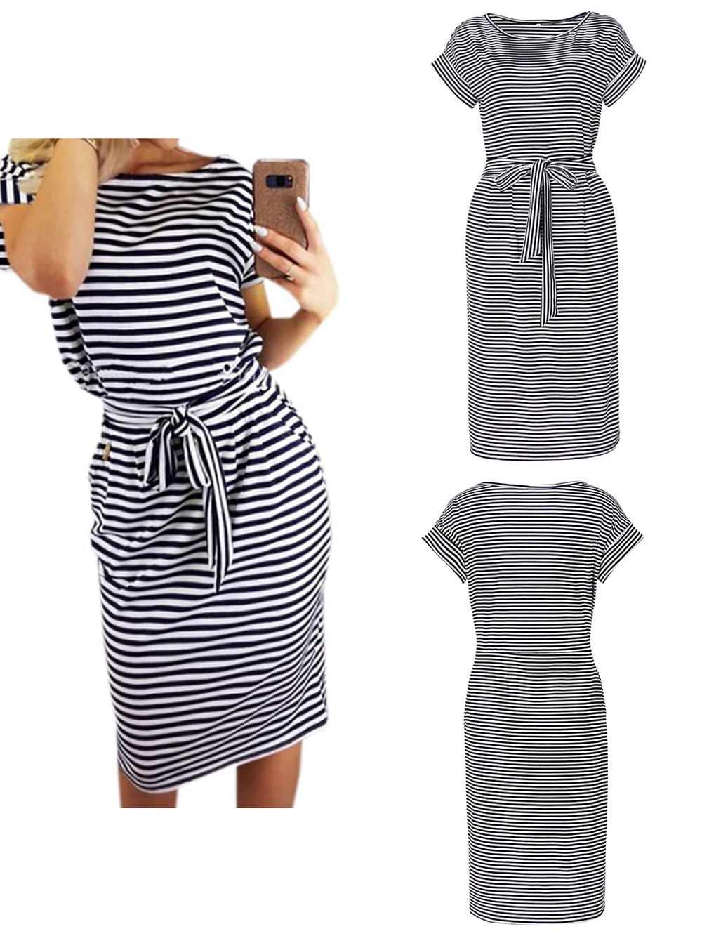 Palinda stripe printed, short sleeve, scoop neck side seam pockets, knee length pencil dress. Can be worn for work or play.