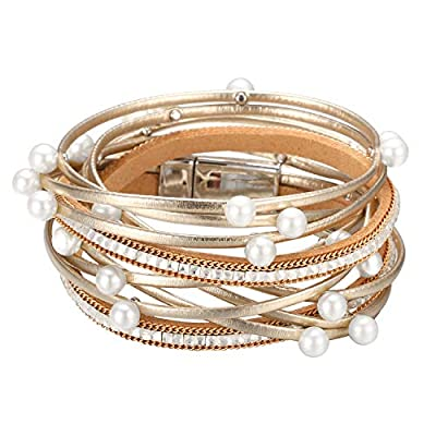 Multi Layer Leather Wrap Bracelet- Gold with Pearls
