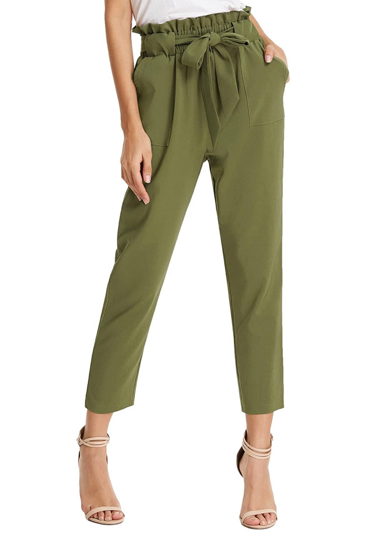 Army Green Grace Karin Paper Bag Waist Pants with pockets