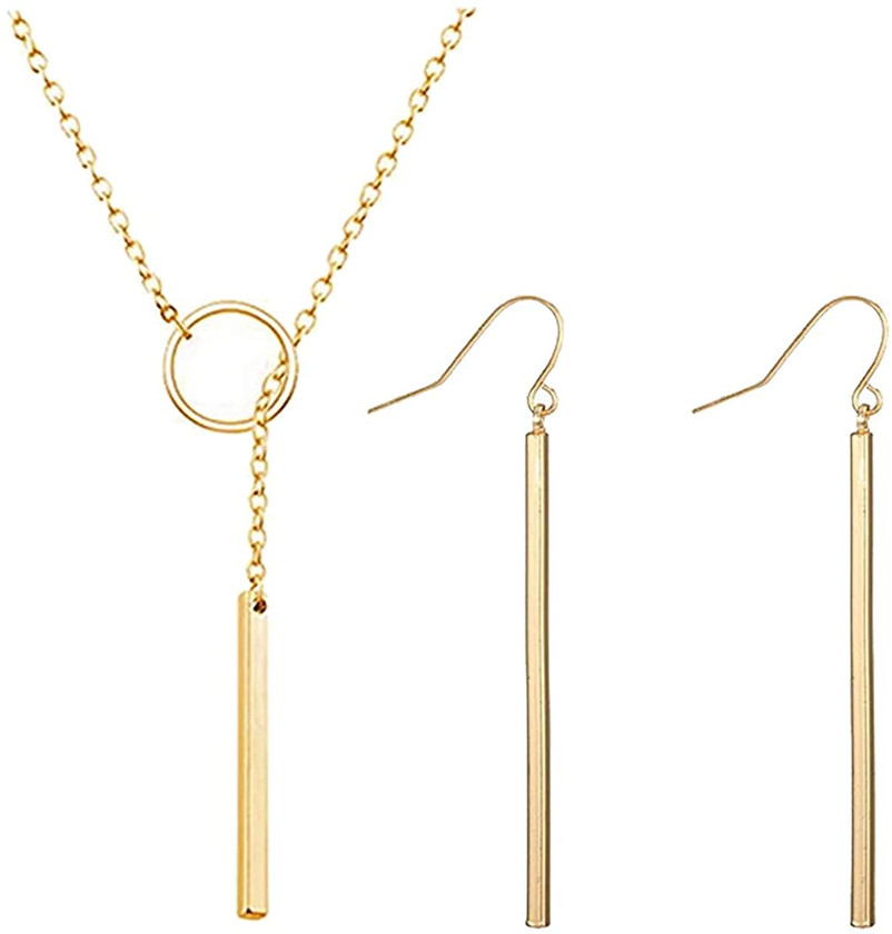 Simple & Dainty Bar Necklace & Matching Earrings