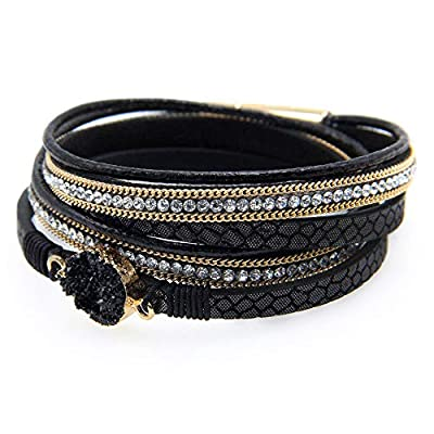 Black Multi Layer Cuff Bracelet with gold, rhinestone and black onyx stone accent