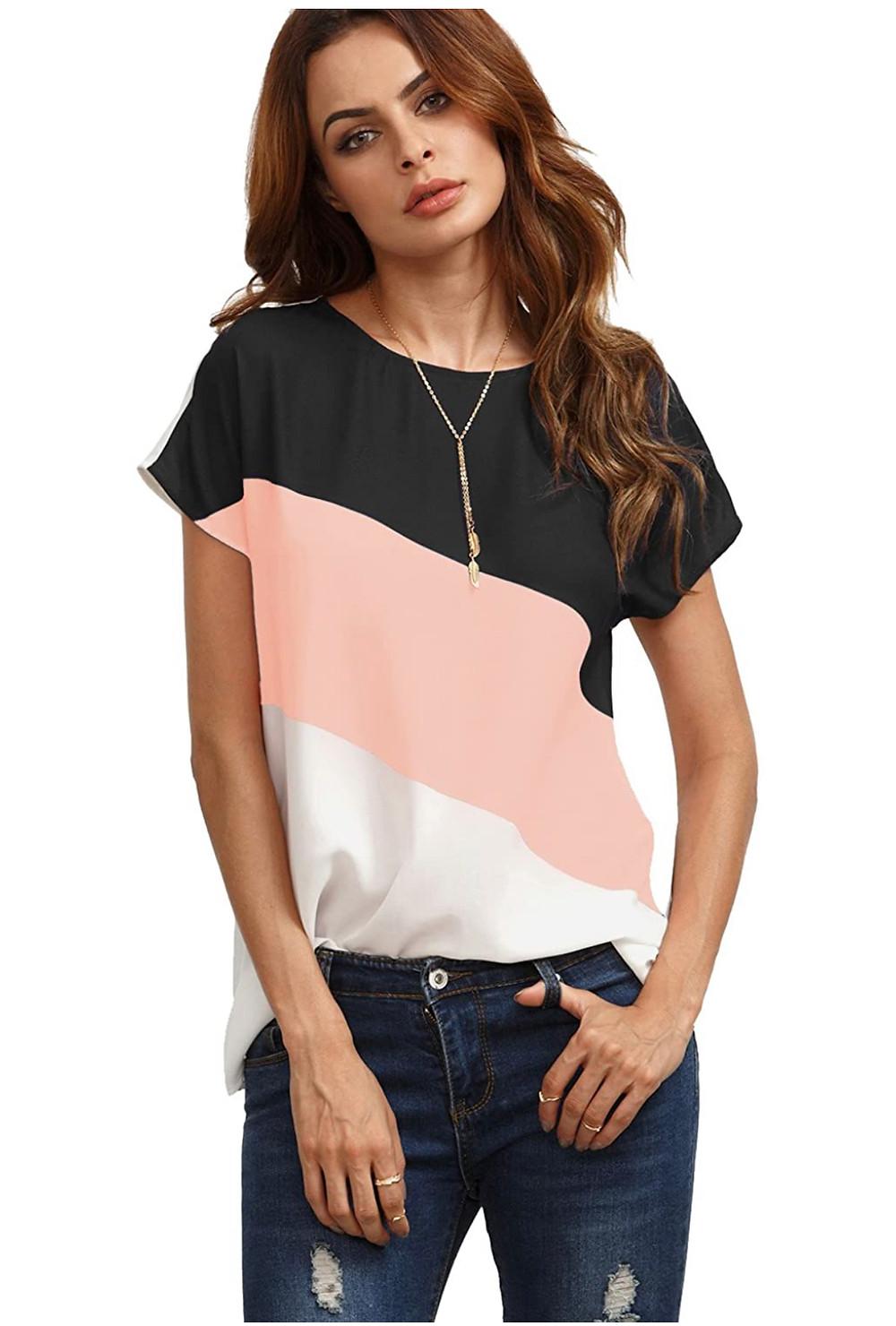 Women's Color Block Blouse Short Sleeve Tunic top