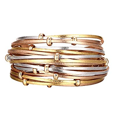 Multi-layer Leather Wrap Cuff Bracelet. Perfect for easy accessorizing for work at home.