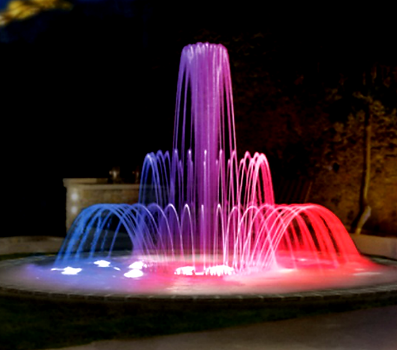 Jet d'eau luminux et fontaine sch Lucens
