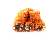 """Turkish Delight """"Roll"""" with Pistachio and Pomegranate Flavor -Rolled, Saffron Covered"""