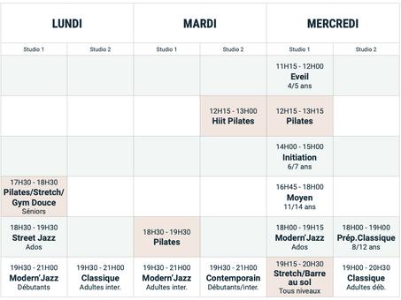Planning rentrée 2021   22 Académie Danse Pilates Reims