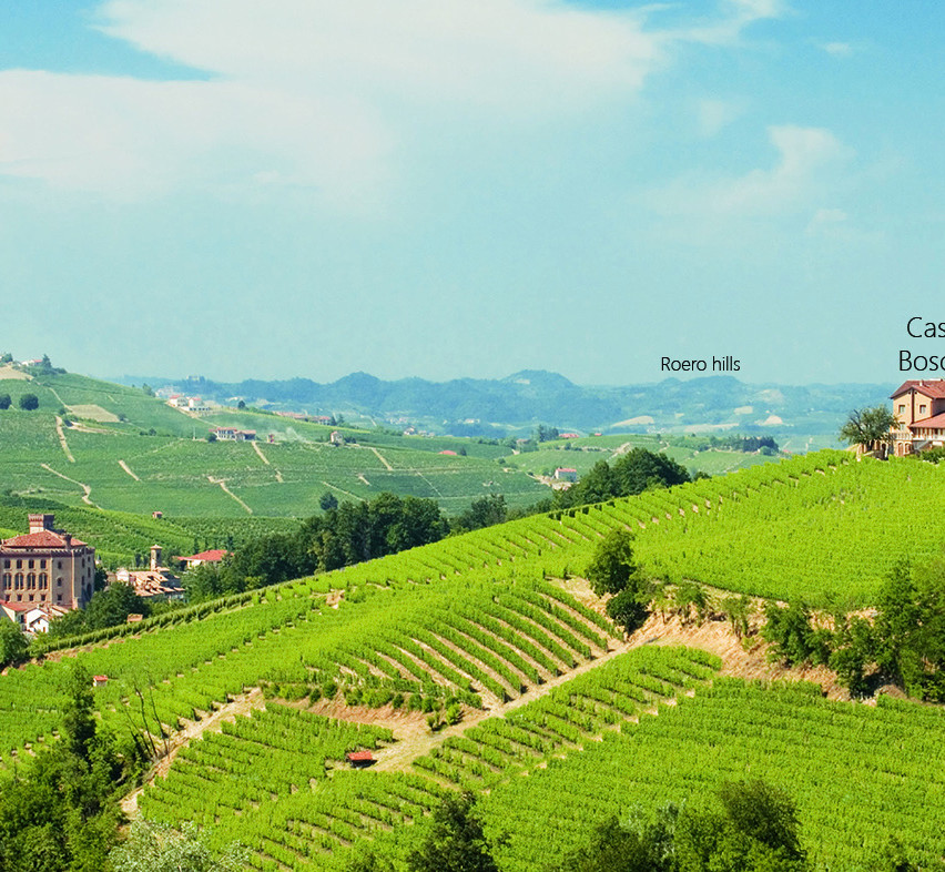 Boschetti on the hill and Barolo down on the left
