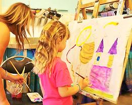 Tia teaching painting teachniques at Lil