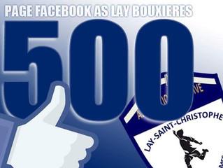 Vous êtes plus de 500 à nous suivre sur Facebook ! Merci !