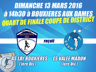 Coupe de District (1/4 de finale) : Venez soutenir l'ASLB !!