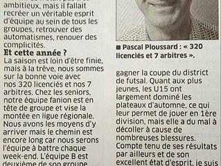 """""""320 licencié et 7 arbitres"""" Est Républicain du 14/01/2016"""