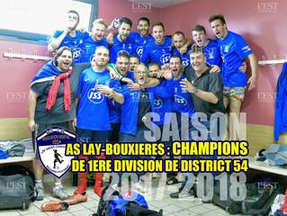 1ère Division : Les séniors A CHAMPIONS montent en Régional 3 !!!
