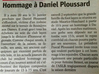 Hommage à Daniel PLOUSSARD ce samedi