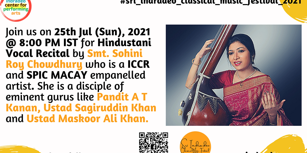 Hindustani Vocal and Semi-Classical Recital by Smt. Sohini Roy Chowdhury