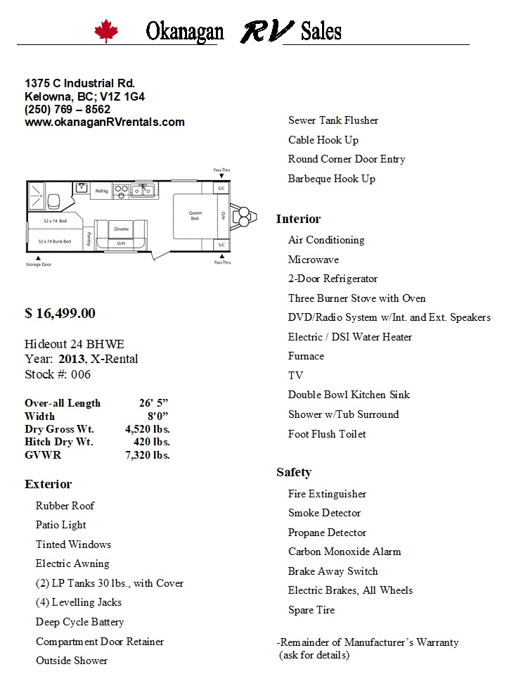 24 BHWE Hideout Sales sheet
