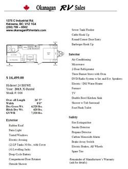 24 BHWE Hideout Sales sheet