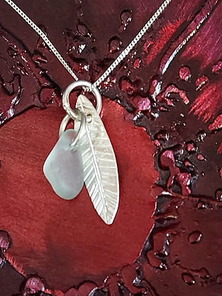 Silver Leaf & Sea Glass Pendant on sterling silver chain.