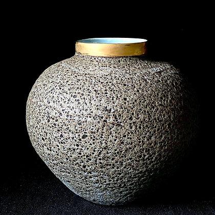 GOLD RIM MOON JAR