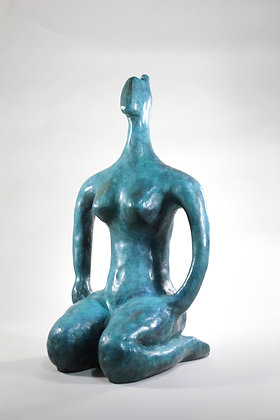 SEATED NUDE IN BLUE -  40CM LIMITED EDITION BRONZE by STEVE BICKNELL