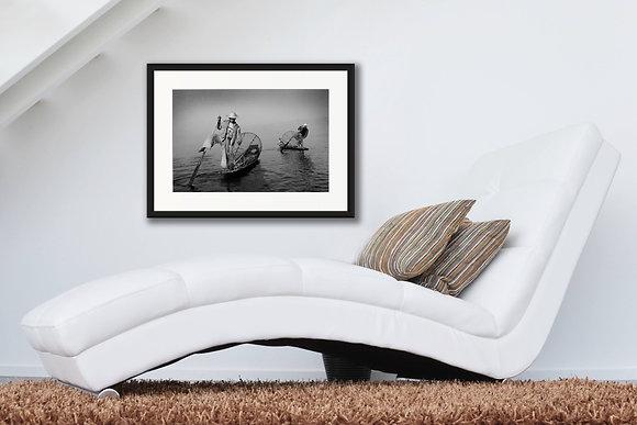 LEG ROWERS - INLE LAKE, BURMA by PREMGIT