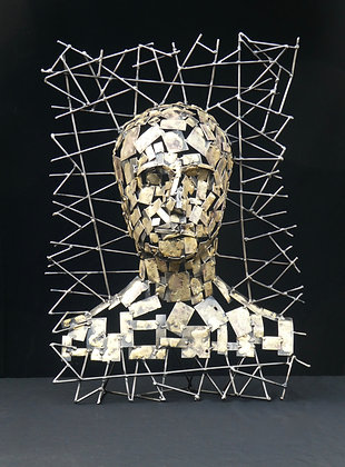 HEAD WITH MESH BACKGROUND