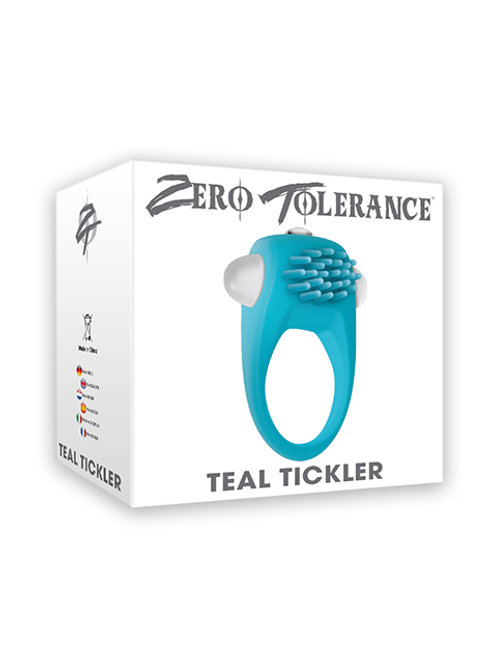 Teal Tickler Vibrating Cock Ring