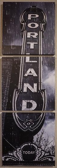 """I'm Only Happy When it Rains"" - Portland Sign B&W"