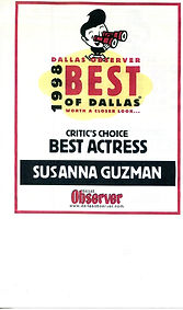 Susanna Guzman wins BEST ACTRESS from Dallas Observer