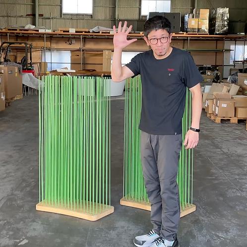 Sticksナチュラルウッド(ワイドカーブ)×rodsグリーンH120