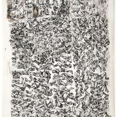 L'ancienne cage du centre 227, 2017 Encre de Chine sur papier 175 x 120 cm  ©Najah Al Bukai