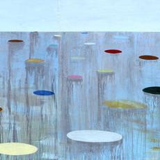 Tentations, 2019 Acrylique sur toile  120 x 270 cm © Walaa Dakak