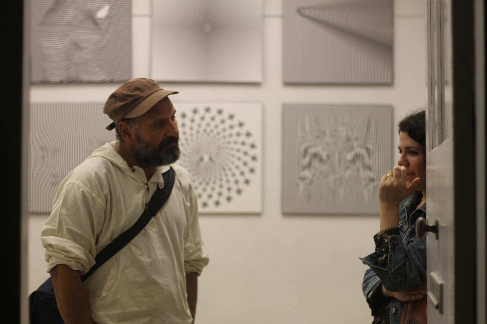 Monif Ajaj et Nour Asalia dans l'atelier de Dino Ahmad Ali  ©Randa Maddah