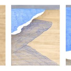 Vague, 2019 feutres et crayons de couleur sur papier 30 x 60 cm  © Carine Prache