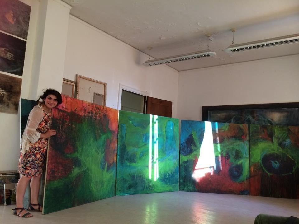 Nagham Hodaifa dans son atelier ©Randa Maddah