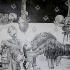 A Quote, 2012 crayon sur papier 150 x 250 cm © Randa Maddah