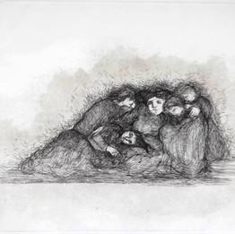 Planche 12, 2018 gravure sur papier hahnemühle    35 x 50 cm © Azza Abo Rebieh