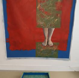 Je t'appelle, 2019 170x140cm Acrylique et impression sur toile, mosaïque et poisson rouge