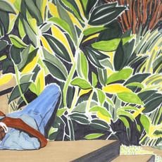 Homme endormie, au sol, Fort de France, 2019 feutre sur papier 29,7 x 42 cm © Carine Prache