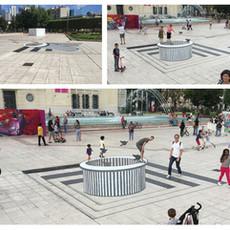 Graffic Art Festival, 2016 Une installation d'illusion d'optique  à l'Esplanade de la mairie de Puteaux ©Ahmad Ali
