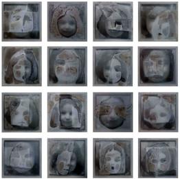 Revival, 2019 Installation 16 pièces,  Techniques mixtes  30 x 30 x 4 cm (chaque)  © Reem Yassouf