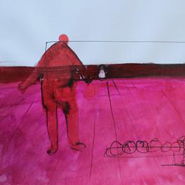 5, 2020 Encre sur papier 30 x 30 cm © Monif Ajaj