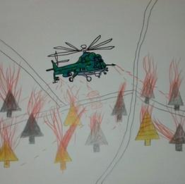 Un hélicoptère a bombardé mon village au Darfour ouest, 2003 Feutres de coloriage pointe fine sur papier 30 x 40 cm © Magdi Masaraa