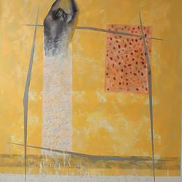 Une femme seule, 2019 acrylique et impression sur toile 170 × 140 cm  © Hura Mirshekari