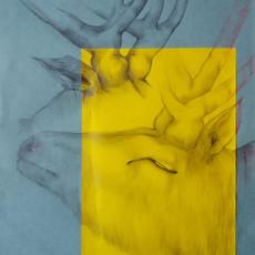 Cerf, 2019 crayon sur papier et collage  50 x 40 cm © Nour Asalia