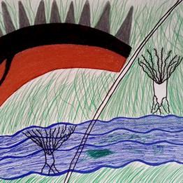 Dorukta #1, 2019 Crayon de couleur sur papier 32 x 42 cm © Magdi Masaraa